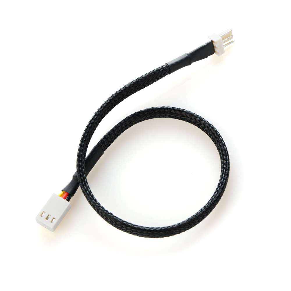 30cm Black Small 3 Pin Male To Female Extension Power Cable Cord PC Fans