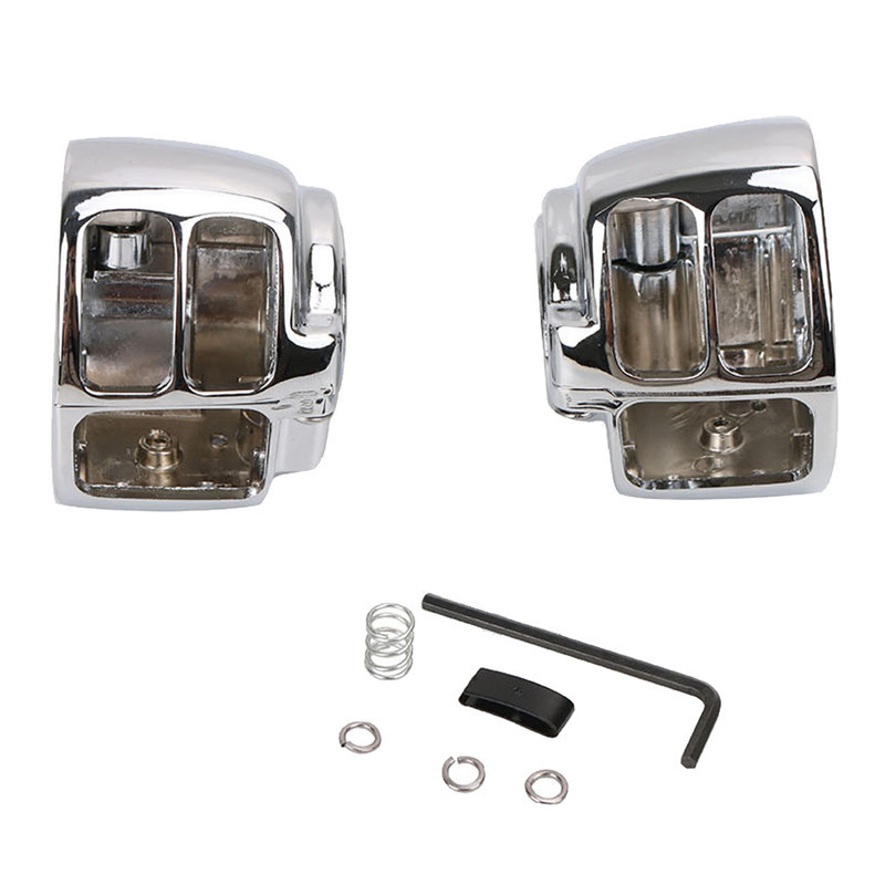 Chrome Switch Housing Cover for Harley Davidson Dyna Softail Wide Glide FXST FX Motorcycle Styling C/5 ## chrome skull foot pegs for harley davidson softail dyna glide sportster