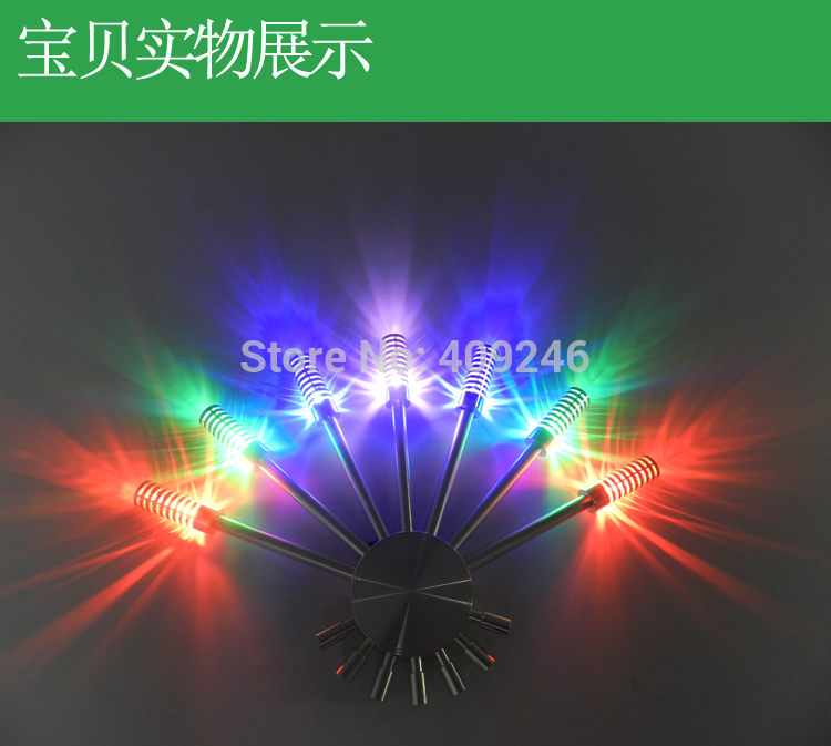 ФОТО 7x1W LED Colorful Triangle Wall Light Cabinet  Background KTV BAR Creative Lamp AC110V to 220V Lighting