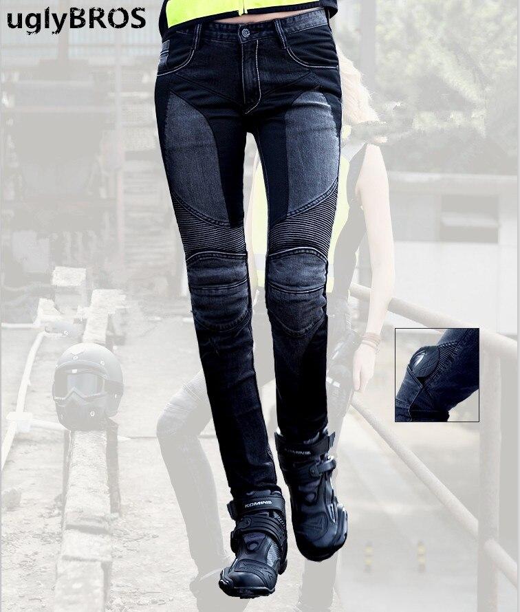 UglyBROS JUKE UBP-01 Jeans Noir Maille Femmes Serré Top Crayons Jeans Moto Pantalon de Moto Protecteur Pantalon