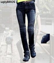 UglyBROS JUKE UBP 01 dżinsy czarna siatka damska ciasny Top ołówki dżinsy spodnie motocyklowe Moto Protector spodnie
