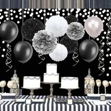20pcs/set Black Sliver Birthday Party Decorations Stars Garland Gradation Banner Balloons Garden Space Home Decor