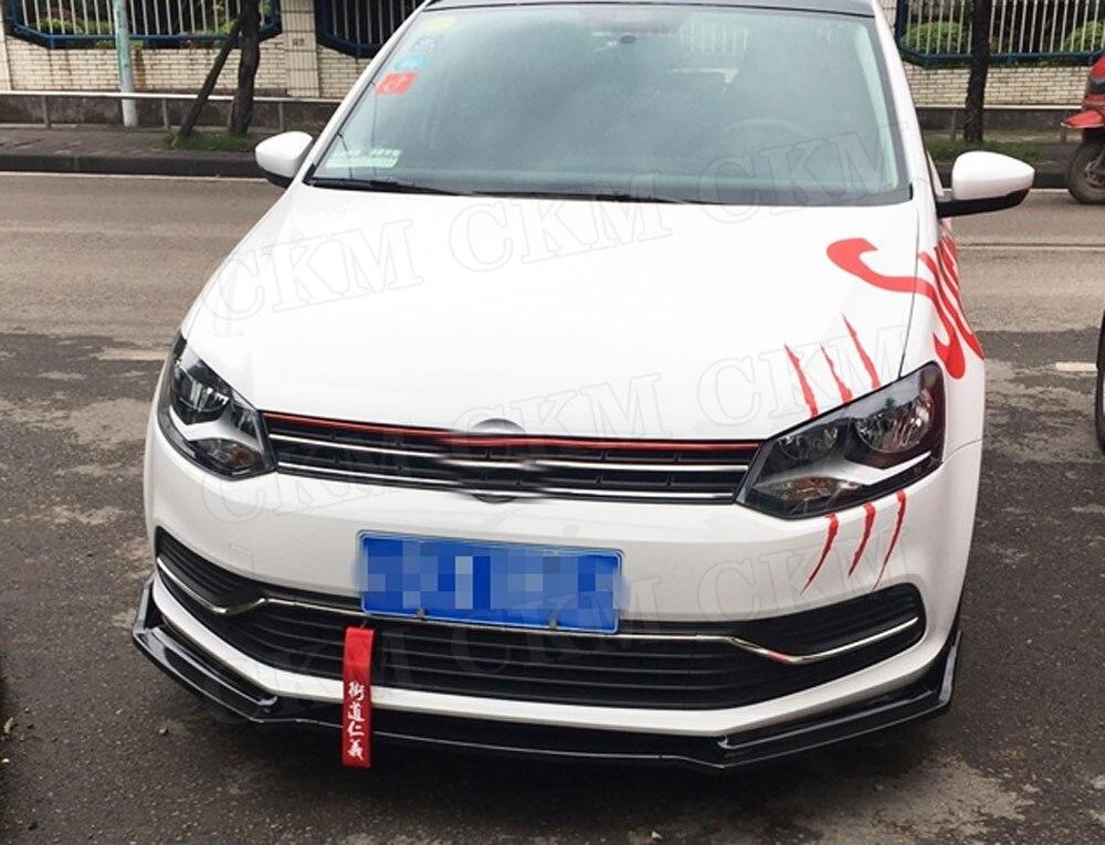 Для Polo ABS автомобильный передний спойлер для губ для Volkswagen VW Polo стандарт- не для GT голова бампер Лопата протектор