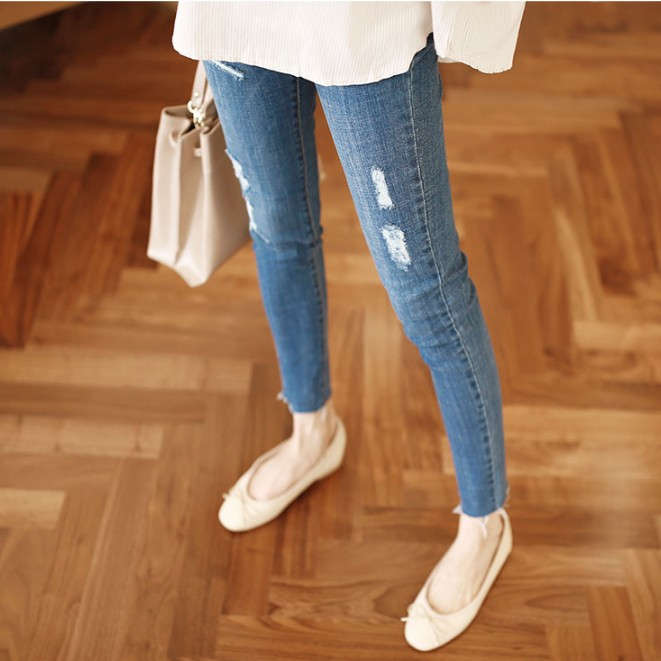2017 autumn gourd doll maternity pregnancy denim jeans distrressed pants for pregnant women elastic waist jeans pregnant pregnan summer boyfriend jeans for women hole ripped white lace flowers denim pants low waist mujer vintage skinny stretch jeans female