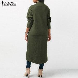 Image 4 - ZANZEA 2020 Asymmetrical Hoodies Dress Womens Sweatshirts Autumn Casual Long Sleeve Pullovers Zipper Midi Vestidos Plus Size
