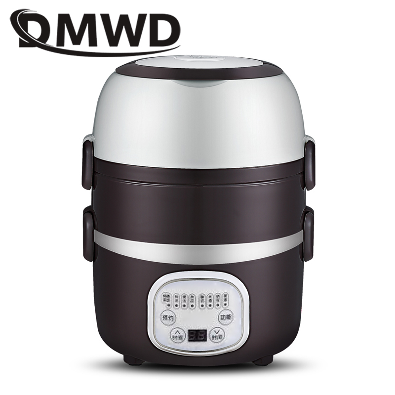 DMWD Mini Rice Cooker Portable 2/3 layers Meal Lunch Box Steamer Thermal Cooking Pot Food Heating Electric Lunchbox Container EUDMWD Mini Rice Cooker Portable 2/3 layers Meal Lunch Box Steamer Thermal Cooking Pot Food Heating Electric Lunchbox Container EU