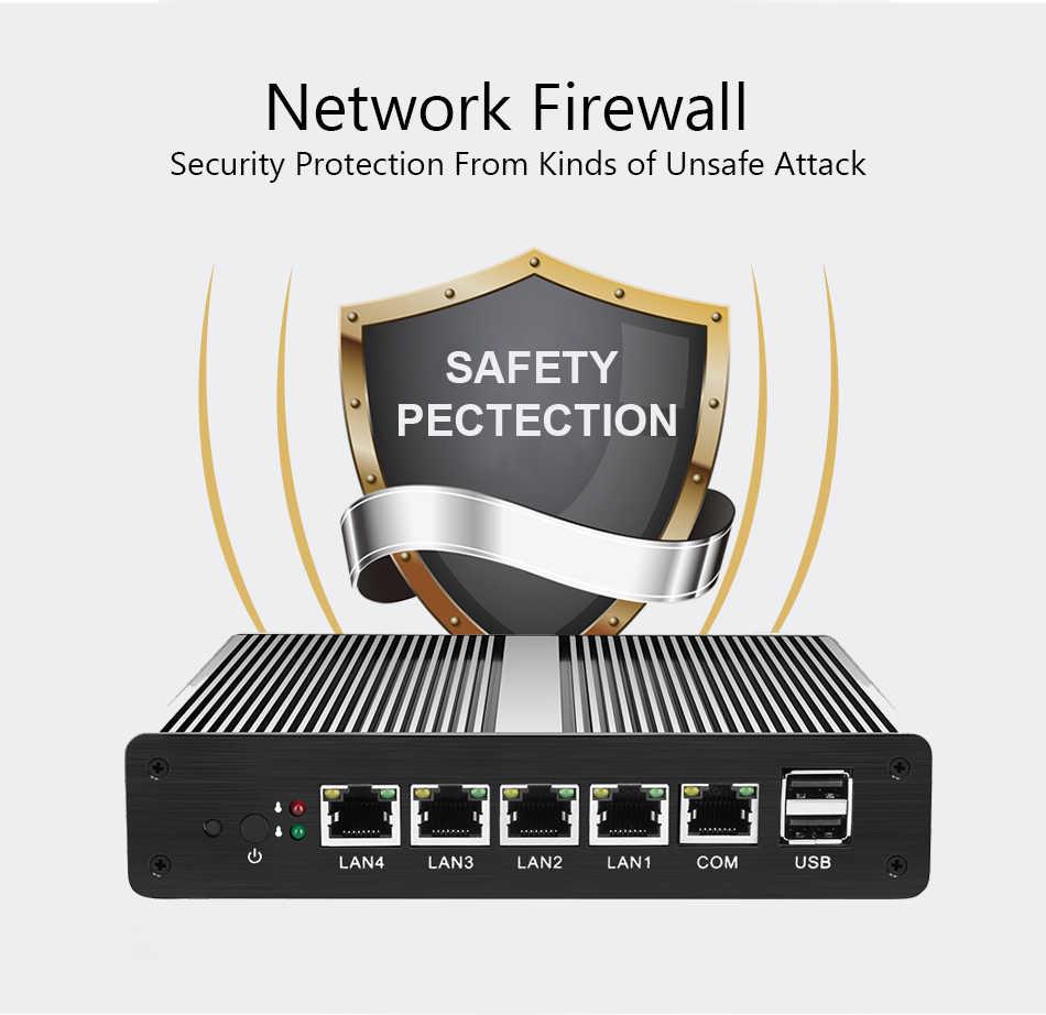 medium resolution of  fanless celeron j1900 j1800 mini pc 4 lan ethernet pfsense firewall linux mini computer router pc