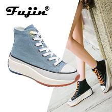 Fujin Flat Shoes Women Spring and Summer Chic Canvas Rocking Dropshipping Female Casual High Top