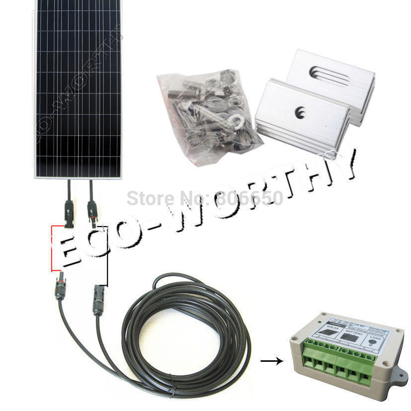 150 Watt COMPLETE KIT Off Grid system PV Solar Panel for 12V battey for RV Boat * 300w solar system complete kit 3pcs 100w photovoltaic pv solar panel system solar module for rv boat car home solar system