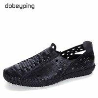 2017 Yaz erkek Rahat Ayakkabılar Nefes Loafer'lar Gerçek Deri Tekne ayakkabı Üzerinde Kayma Sürüş Ayakkabı Adam Hollow Çıkışları Erkek Flats 38-44