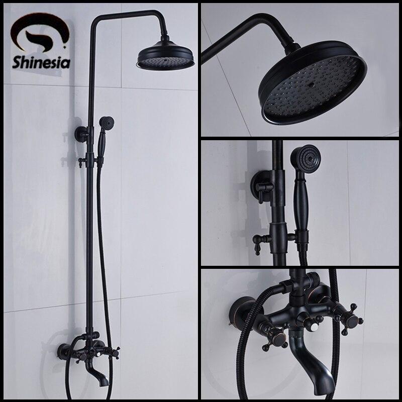 Black Bronze Bath Shower Set Mixer Faucet Rain Shower Head with Handheld Shower Double Handle Bathtub