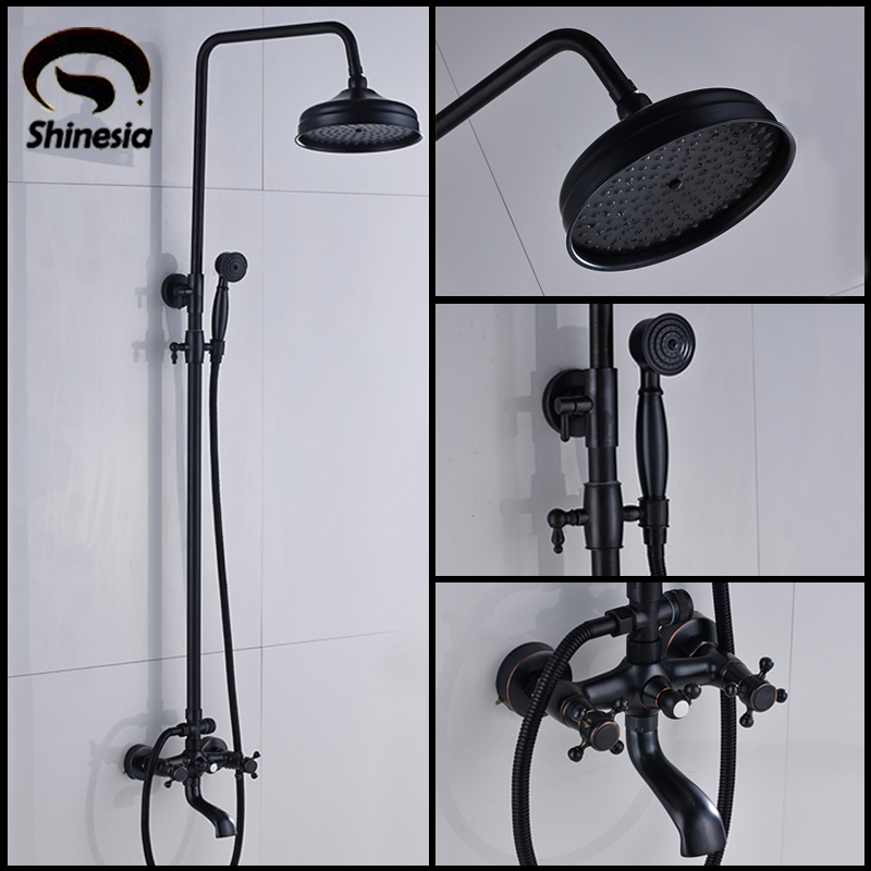 Luxury Black Bronze Shower Faucet Set 3-function Switch Wall Mount Rain Shower Faucet With Hand Shower Tub Spout Hot Cold Mixer Shower Equipment