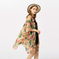 Oversized Summer Floral Sandy Beach Women Chiffon Cover Up Floral Print Female Cape Lady Swimwear Bathing