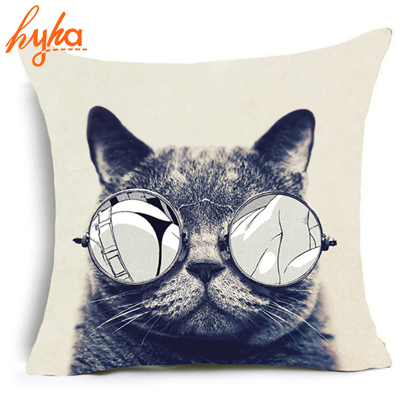 Hyha Trippy Cat Polyester Cushion Cover Gentlemen Pop Art Creative Cat Animal Home Decorative Pillows Cover for Sofa Car Cojines