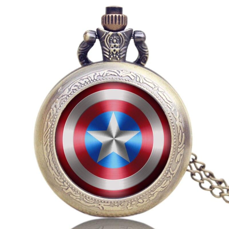 New Captain America's Shield Quartz Mini Small Pocket Watch Star Pendant Necklace Chain for Men Women Children + Gift Bag