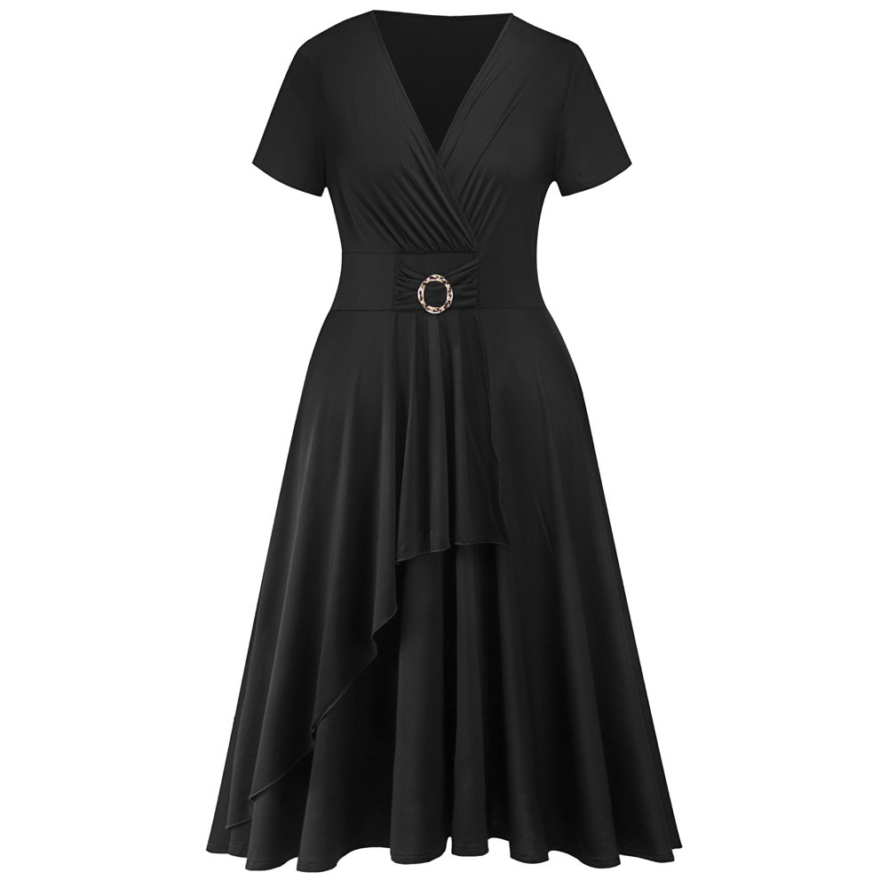 Detail Feedback Questions about Wipalo Plus Size 5XL Women Vintage Dress  Black Solid Short Sleeve High Waist Pin Up Dress Casual Summer Dresses  Vestidos ... ed53204e6a1f