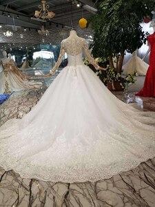Image 2 - HTL109 vestidos de boda de estilo occidental puro nuevo cuello redondo apliques largos de tul mangas vestido de novia de la muchacha