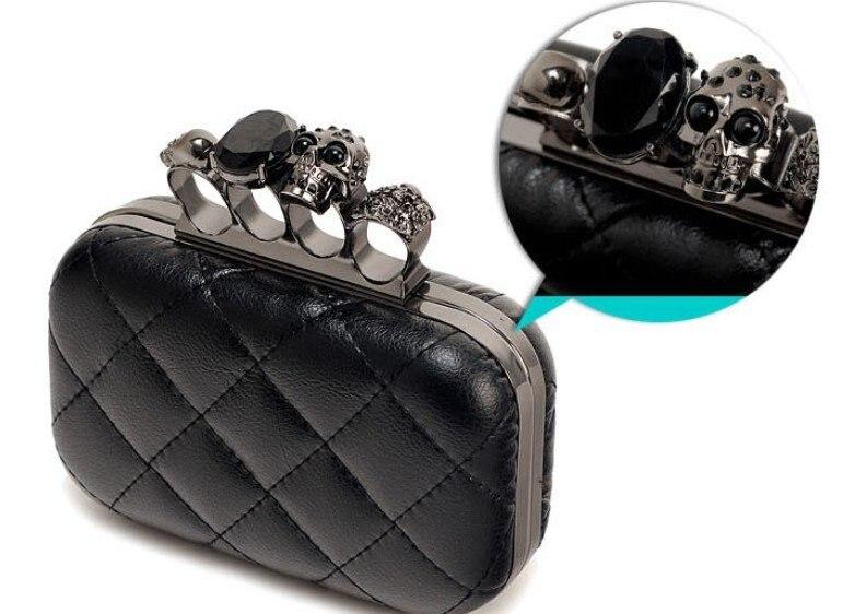 2015 vintage Skull purse,Black Knuckle Rings Handbag Clutch Evening Bag shoulder Chain Perfect free shopping EB085 - YIWU Global Trade store