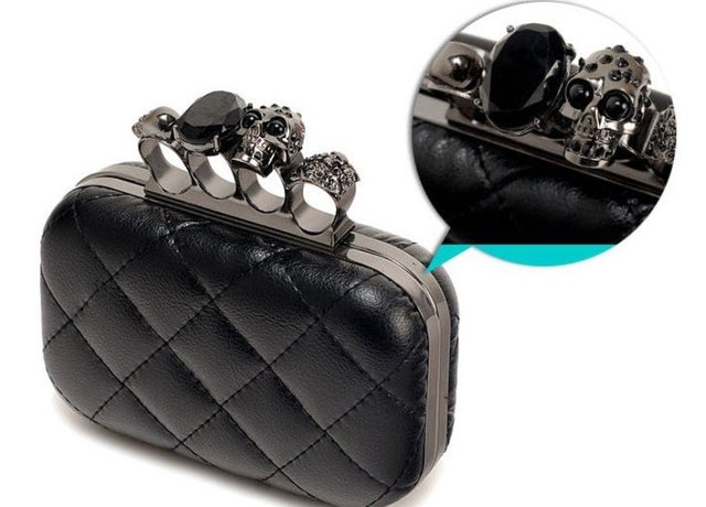 2015 vintage Skull purse,Black Skull Knuckle Rings Handbag Clutch Evening Bag With shoulder Chain Perfect free shopping EB085
