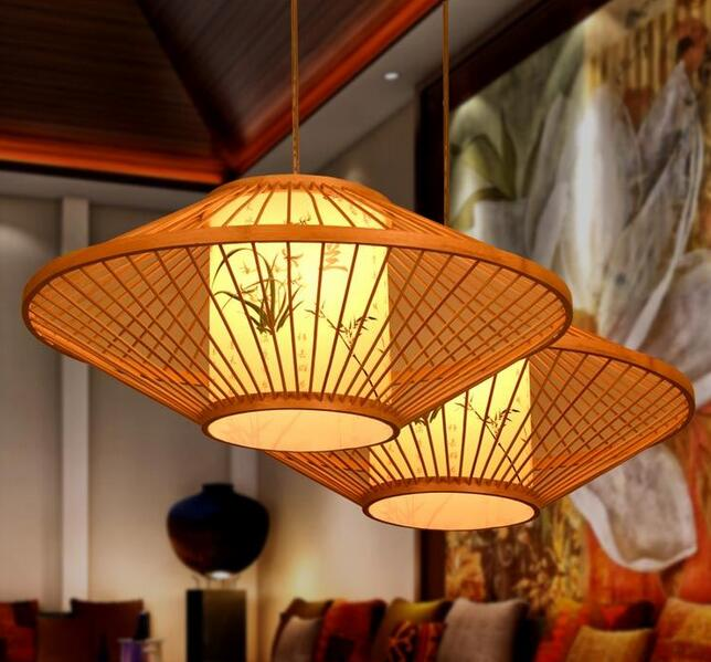 Chinese style Wooden antique parchment restaurant pendant lamp room Restaurant southeast bamboo Retro pendant lights chinese style classical wooden sheepskin pendant light living room lights bedroom lamp restaurant lamp restaurant lights