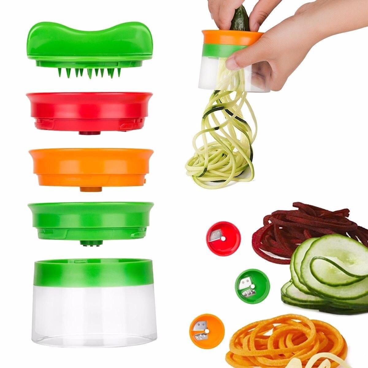 Новый Овощной Фрукты спиральный измельчитель нож Овощной Spiralizer тёрка для моркови огурец кабачок цуккини спагетти чайник челнока