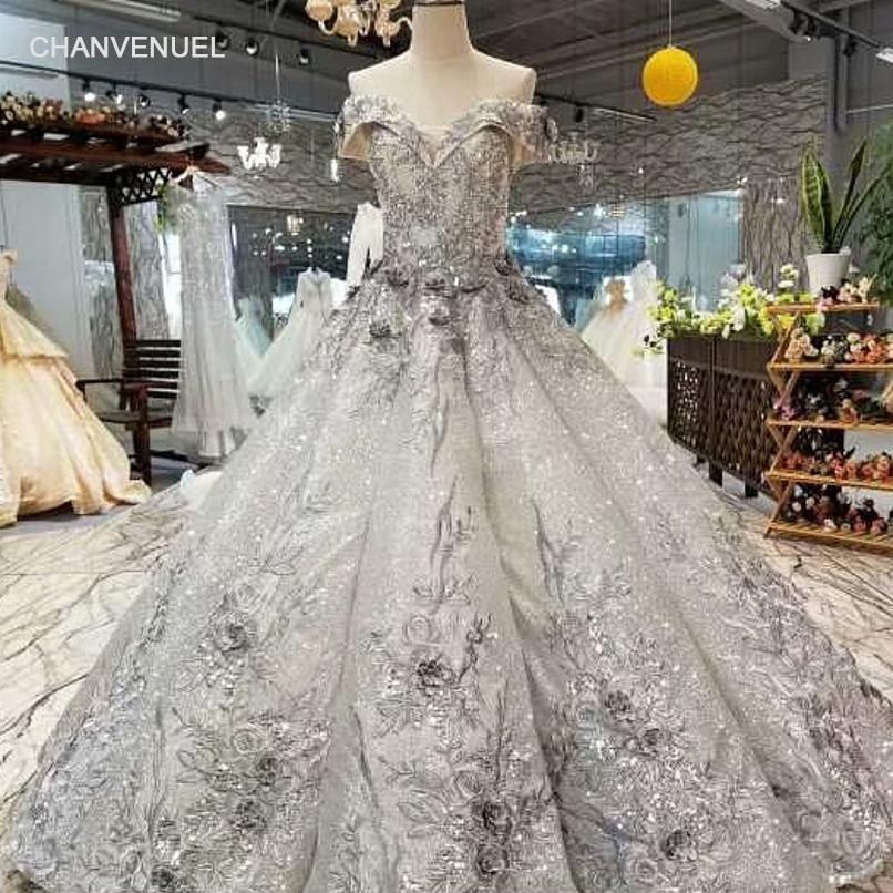 LS3774 Senior Grey Ball Gown Evening Dress Off Shoulder