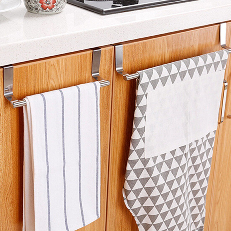 Bathroom Door Kitchen Towel Over Holder Drawer Hook Storage Scarf Hanger Cabinet Hanging Stainless Steel Towel Rack image