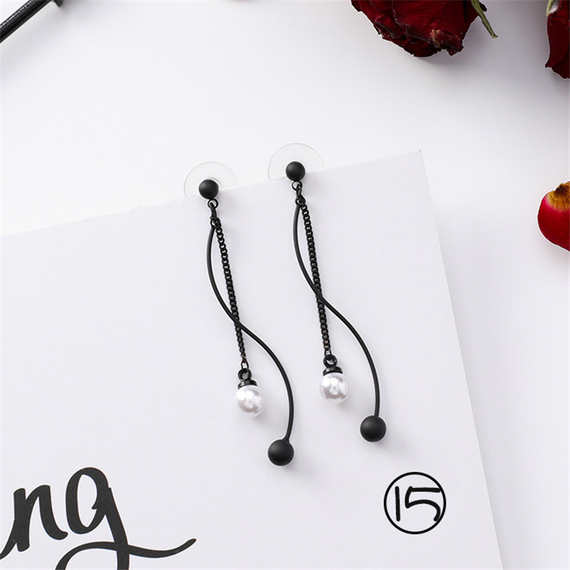 Korean Long Tassel Drop Earrings for Women Fashion Girl Black Geometry Dangle Earring Simple Cold Style Jewelry 2019