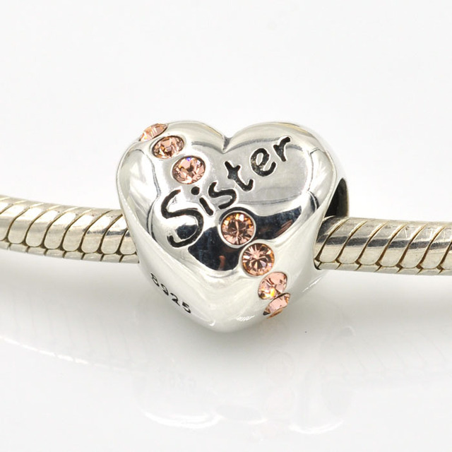 authentic 925 sterling silver charms heart letter sister charm beads