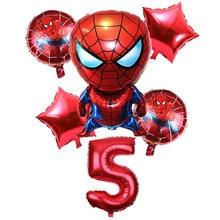 6 Pcs/set 32 Inch Number 1-9 years Spider-man Helium Balloon Spiderman Superhero Avengers Birthday Party Balloons Decorations