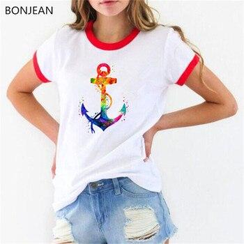 Watercolor Anchor printed tshirt women summer clothing 2019 t shirt femme gothic top female t-shirt drop shipping