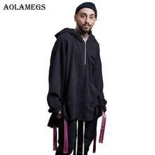 Aolamegs Hoodies Men Solid Ribbon Loose Hoody O-neck Pullover High Street Fashion Hip Hop Streetwear Sweatshirts Hoodie Autumn