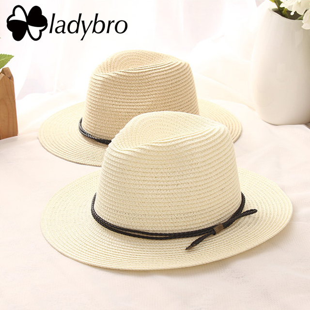 Ladybro Verão Chapéu Panamá Chapéu Dos Homens Chapéu de Palha Para As  Mulheres Sun Aba larga b82fbb1ddda