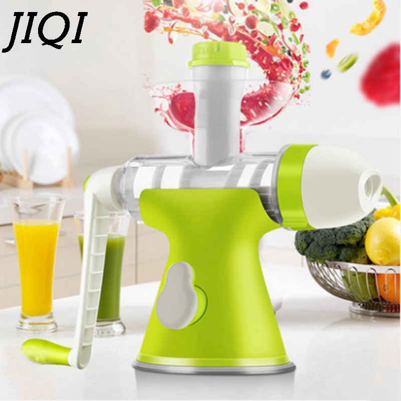 JIQI Manual Hand press wheat Grass Juicer manual Auger Slow Juice Fruit Wheatgrass ornage extractor machine ice cream Squeezer whole slow juicer 300w 75 cm fruits low speed juice extractor juicers fruit machines