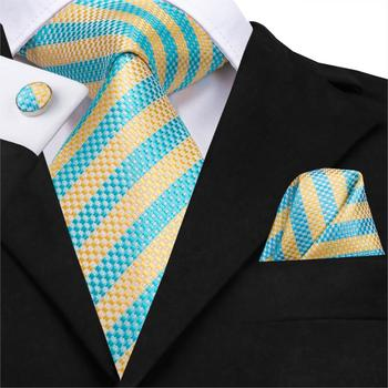 SN-3134 Men Tie Woven 100% Silk Necktie New Yellow Blue Striped Handkerchief Party Wedding Classic Fashion Pocket Square Tie Set