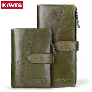 Image 5 - Женский кошелек KAVIS, кошелек из натуральной кожи, кошелек для монет и маленький кошелек, кошелек для денег, зеленый, на молнии, держатель для карт, Perse