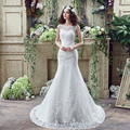 2017 Low Price Lace Mermaid Scoop Neckline V Back Wedding Dresses Romantic Custom Made Bride Dress Robe De Mariee Wedding Gown