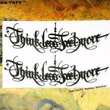 Nu-TATY Black Latin Temporary Tattoo Body Art, 12x20cm Flash Tattoo Stickers, Waterproof Fake Tatoo Henna Tatto Wall Sticker