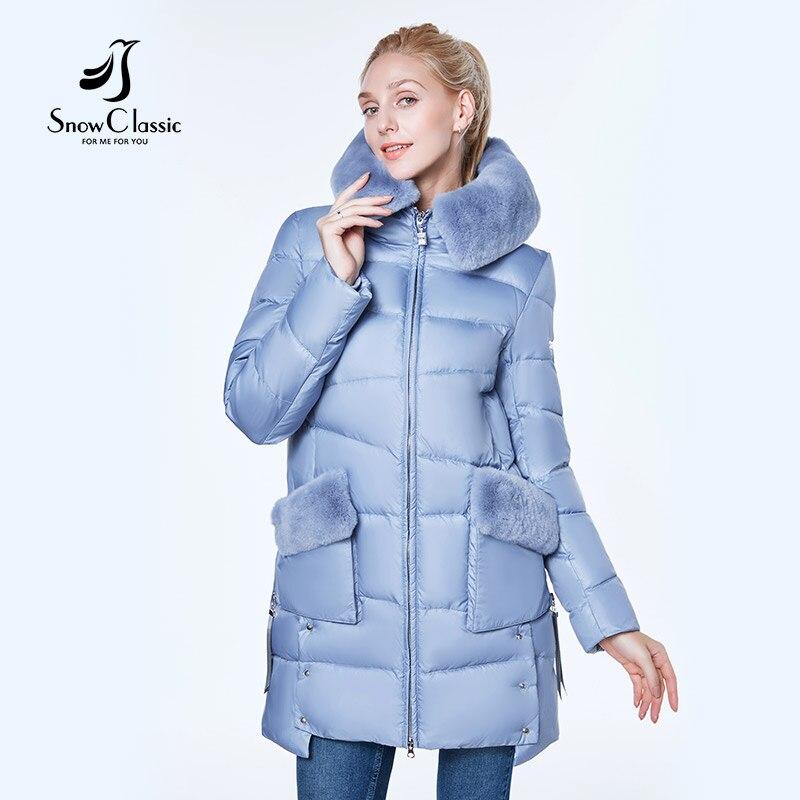 Neige Classique 2018 veste femmes camperas mujer abrigo invierno manteau femmes parc Rex lapin cheveux Porter un chapeau Coupe-Vent épais