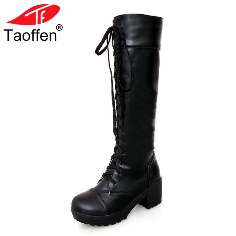 цена на TAOFFEN women high heel over knee boots motorcycle autumn winter botas cross strap boot footwear heels shoes P20542 size 34-43