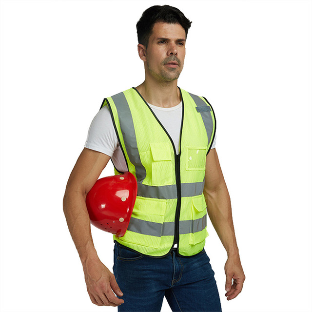 b5e0c5702e38 yellow vests or yellow jackets men Vest YellowColor Reflective Fluorescent  Outdoor Safety Clothing Running Ventilate Safe High