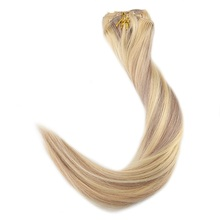 Full Shine Hair Clips 9 Pieces Piano Color#18 And 613 Blonde Highlight Clip In Hair Extensions 120g 100% Remy Human Hair Clip