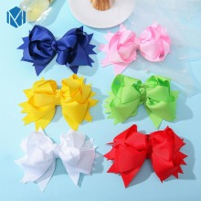 1pc 5inch Girls Solid Hair Bows Clips Kids Candy Color Ribbon Hairpins Children Headwear Fashion Accessories
