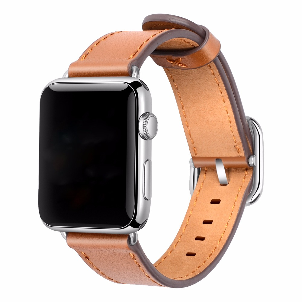Brown Apple Watch Band 38mm Women 42mm Men Genuine Leather Replacement Wrist Strap with Adapters Buckle for iWatch Accessories eache 38mm 42mm dark brown replacement watch straps fit for apple watch vegetable tanned leather watch band for women or man