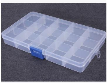 New 15 Grid Plastic Translucent Storage Box Beaded Electronic Components  Household Supplies Adjustable Storage Bins 10pcs
