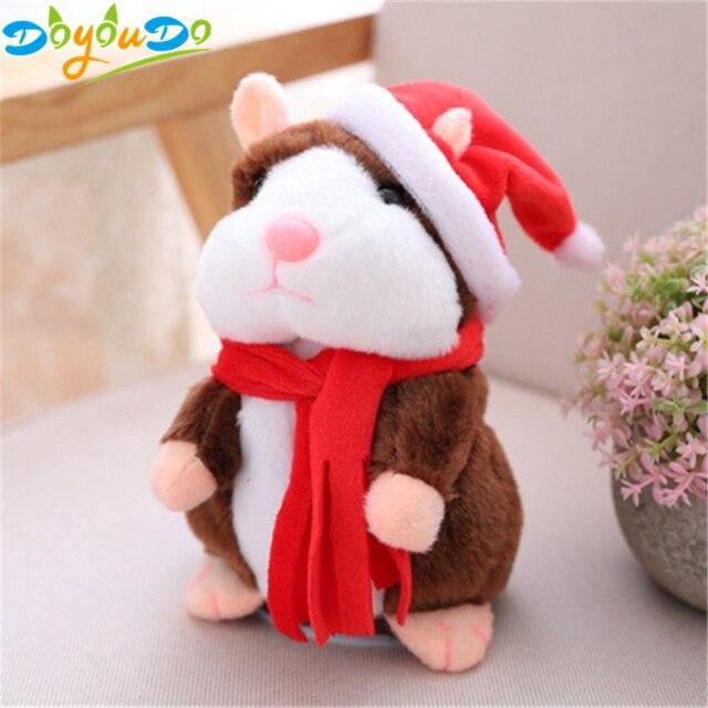 Falando Rato Hamster Pet Falar Falar Sound Record Hamster Natal Brinquedo Educativo Brinquedo de Pelúcia para o Presente de Natal Das Crianças