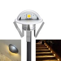 FVTLED 6/10 x 35mm 12V LED Decking Step Lights Waterproof Half Moon Outdoor Garden Stair Lamp Kit