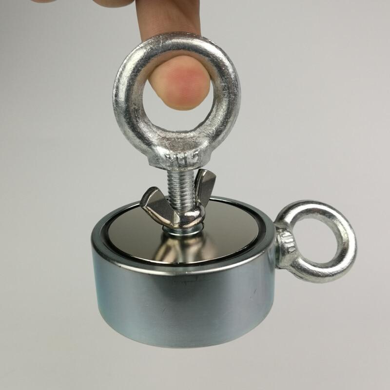 1 pièces deux côtés 200 KG Magnétique Matériel Pêcheur Récupération Recherche Néodyme Aimant Puissant Aimant Aimants De Pêche Imanes - 2
