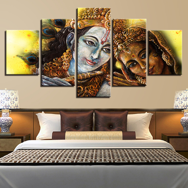 US $39 99 |5 Pieces Divine Couple Lord Krishna Radha Canvas Paintings For  Living Room Decor HD Printed Pictures Wall Art Poster Framework -in  Painting
