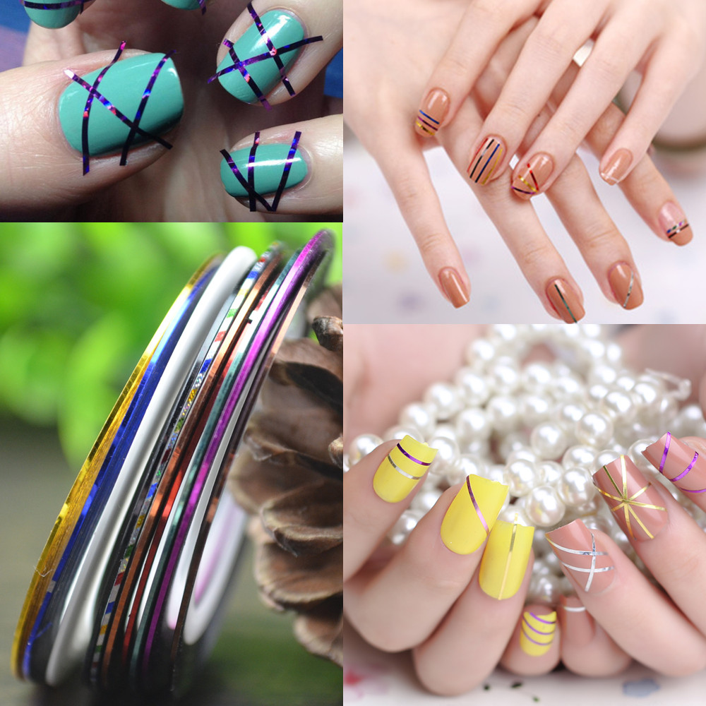 US $0 19 29% OFF|LCJ Retail 1mm Nail Striping Tape Line For Nails  Decorations Diy Nail Art Self Adhesive Decal Tools, 11 Colors For Choose-in  Stickers